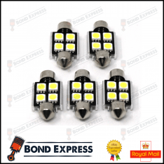5 x 36mm CANBUS ERROR FREE SMD LED FESTOON BULB C10W C5W – WHITE