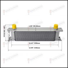 AN10 Oil Cooler Silver | 10 Row