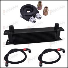 AN10 Universal Oil Cooler Kit Black | 10 Row